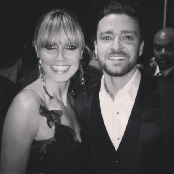Heidi Klum and Justim Timberlake backstage at the 2013 AMA