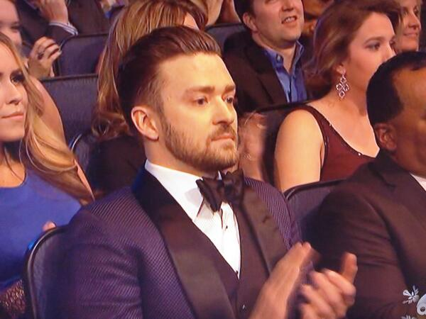 Justim Timberlake right before he picked up his award at the 2013 AMA
